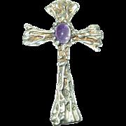 Vintage Pendant Sterling Amethyst Cross