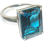 Vintage Ring Sterling Faux Faceted Blue Stone