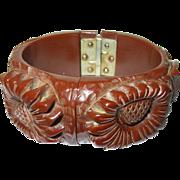 Vintage Hinged Bangle Bakelite Heavily Carved