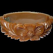Vintage Bangle Hinged Bakelite Heavily Carved