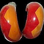 Vintage Earrings Bakelite ZigZag Pattern