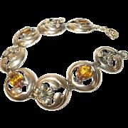 Vintage Bracelet Gold Filled Links Repousse Work