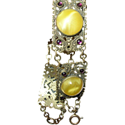 Vintage Bracelet Czechoslovakian Filigree Work Glass Stones