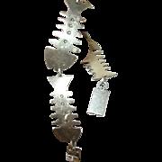 Vintage Bracelet Forbes Sterling Link Fish Design