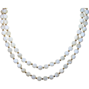 Vintage Necklace White Glass Beads Gold Filled Spacers