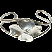 Vintage Bracelet Sterling Cuff Dogwood