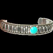 Vintage Bracelet Cuff Sterling Turquoise