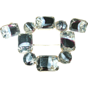 Vintage Brooch Earring Set Czechoslovakian Art Glass