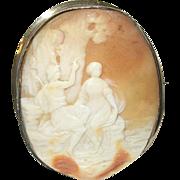 Antique 10K Shell Cameo Goddess God Landscape 1860's