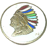 Vintage Enamel Collar Button Indian Head