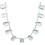 Vintage Necklace Aquamarine Faceted Glass Drops