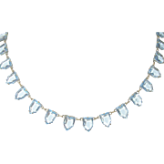 Art Deco Necklace Sterling Faceted Aquamarine Glass Drops