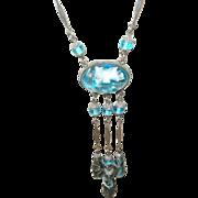 Art Deco Necklace Tear Drop Art Glass Beads