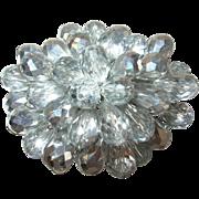 Vintage Brooch Faceted Crystal Beads