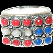 Vintage Ring Sterling Patriotic Red White Blue