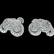 Vintage Earrings Sterling Marcasite Modernist Design