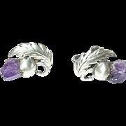Vintage Earrings Sterling Amethyst Thistle