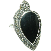 Vintage Ring Sterling Onyx Marcasite