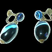 Vintage Earrings Venetian Art Glass Drops