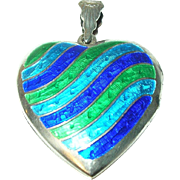 Vintage Heart Locket Pendant Sterling Enamel