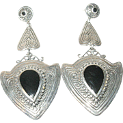 Vintage Earrings Sterling Black Onyx Drops