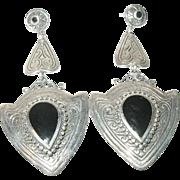 Vintage Earrings Sterling Black Onyx Drops