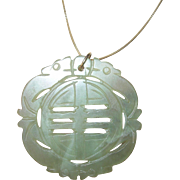 Vintage Large Jade Pendant on Sterling Vermeil Necklace