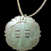 Vintage Large Jade Pendant on Sterling Vermeil Necklace