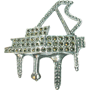 Vintage Brooch Sterling Marcasite Piano