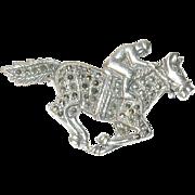 Vintage Brooch Jockey Horse Sterling Marcasite