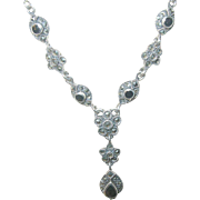 Vintage Necklace Sterling Marcasite Black Onyx