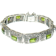 Vintage Bracelet Sterling Marcasite Faux Peridox