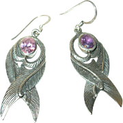 Vintage Earrings Sterling Chased Design
