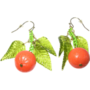 Vintage Earrings Oranges Glass Leaves