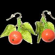 Vintage Earrings Oranges Glass Leaves