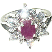 Vintage Ring Sterling Ruby White Crystals