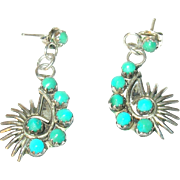 Vintage Earrings Drops Sterling Turquoise