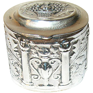 Vintage Pill Box Sterling Repousse Work
