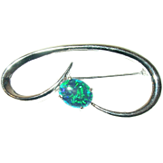 Vintage Brooch Sterling Doublet Opal