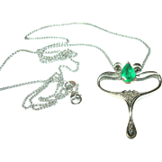 Vintage 14K Necklace Emerald Diamond Pendant