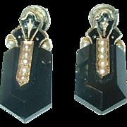 Victorian 14K Black Onyx Drop Earrings