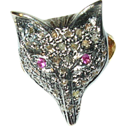 Vintage Sterling Vermeil Fox Ring Diamonds Rubies