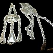 Antique Sterling Necklace Repousse Pendant