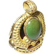 Antique Fob Pendant Gold Filled Agate Green Stones