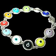 Vintage Evil Eye Link Bracelet Multi Colored