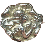 Art Nouveau Sterling Brooch by Unger Brothers Signed