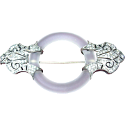 Art Deco French Rock Crystal Sterling Brooch