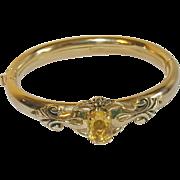 Vintage Hinged Bangle Gold Filled FAux Citrine