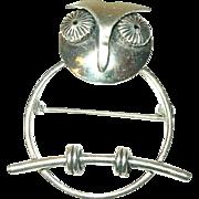 Sterling Brooch Owl Design by Beau