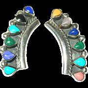 Vintage Earrings Sterling Semi Precious Stones